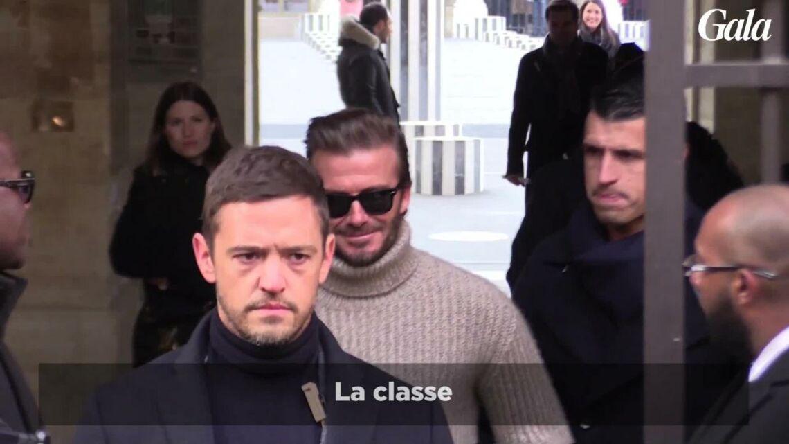 VIDÉO – David Beckham, dans un simple pull col roulé, affronte le froid au défilé Louis Vuitton