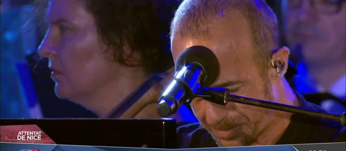 VIDEO – Les larmes de Calogero, qui ne peut finir sa chanson hommage aux victimes de l'attentat de Nice