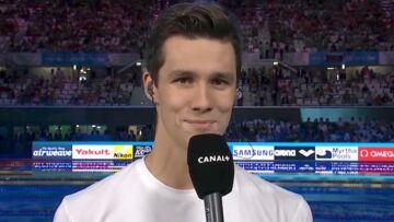 VIDEO- Le bizutage très gênant du nageur Geoffroy Mathieu, pour son premier passage à l'antenne
