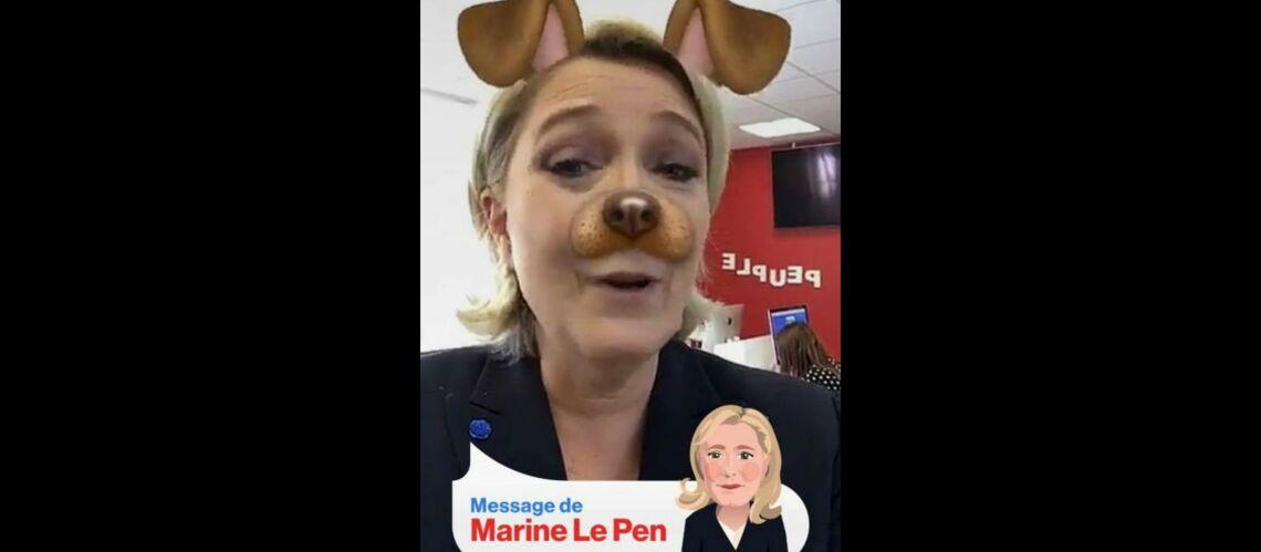 Karaoké, Dalida et filtre Snapchat:  Marine Le Pen fait sa communication sur les réseaux sociaux