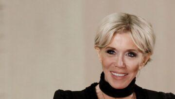 PHOTOS – Brigitte Macron: A l'Elysée, elle joue la diplomatie en robe noire Elie Saab