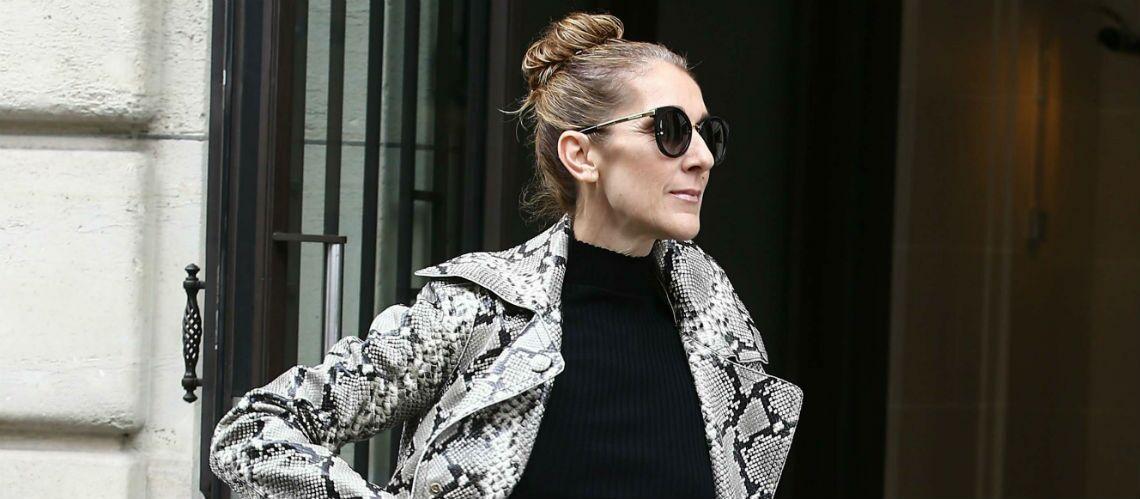 PHOTOS – Céline Dion ose le manteau en python avec la petite robe-pull et des cuissardes de sa propre marque